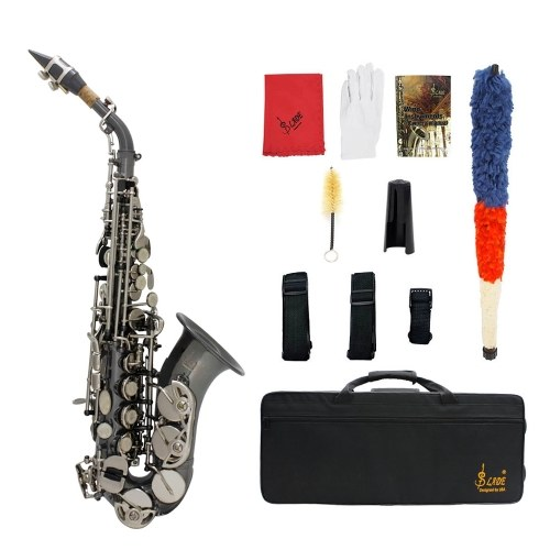 Bb Soprano Saxophone Sax Brass Material Black Nickel Plated Woodwind