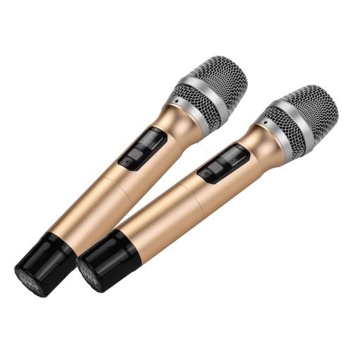 Système de microphone sans fil UHF portable avec 1 récepteur et 2 microphones à main