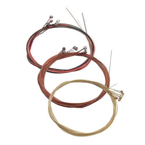 3 set di corde per chitarra acustica folk set di corde in filo di acciaio inossidabile avvolto in lega di rame, 6 pezzi / set (.007-.047)