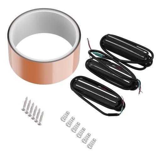 5cm * 2m / 2inch * 6.6FT粘着性導電性銅箔シールドテープ-片面導電性+ STエレキギターと互換性のある3本のデュアルレールハムバッカーピックアップ