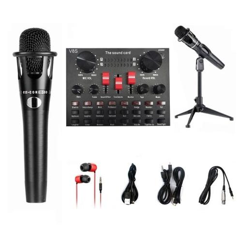 Ensemble de microphones de carte son V8S en direct 8 modes Enregistrement audio Équipements de diffusion en direct