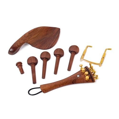Ensemble de pièces de violon en bois massif rouge Pegs Fine Tuners Cordier Mentonnière Repose-menton Pince d'extrémité Queue Gut 13in1 pour violon 4/4