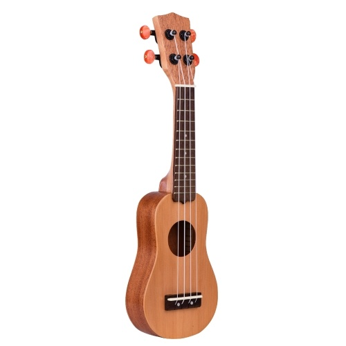 Muslady17インチミニアコースティックウクレレトラベルポータブルウクレレウクレレポケット4弦ギターレッドパイントップボードキャリーバッグ付き