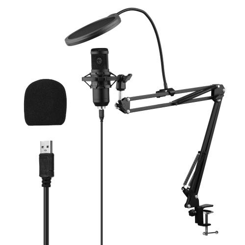 USB-Kondensatormikrofon-Set mit Tischmontageklemme Scherenarmständer Pop Filter Muff Stoßdämpfer-USB-Kabel