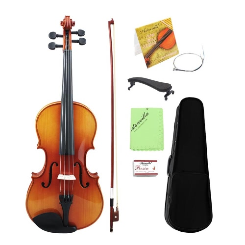 Glossy Tigrina 16 Inch Viola Spruce Faceboard Maple Wood Backboard Ebonize Fretboard with Chin Rest String Case Stringed Instrument for Music Lovers Beginners