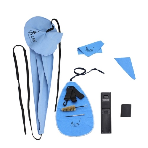 LADE 10-in-1 Saxophone Cleaning Care Kit Belt Cork Grease Thumb Rest Cushion Reed Case Mouthpiece Brush Mini Screwdriver Cleaning Cloth