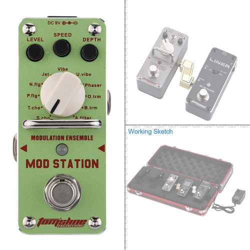 AROMA AMS-3 Mod Station Modulation Ensemble Electric Guitar Effect Pedal Mini Single Effect with True Bypass I1558