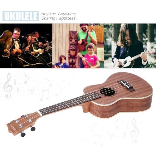 ammoon 24 «Sapele укулеле 4 струны с палисандр гриф белый Brims музыкальный инструмент Новогодний день подарок настоящему