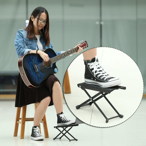 Foldable Metal Guitar Pedal Anti-Slip Guitar Foot Rest Stool 4 Adjustable Height Levels Black