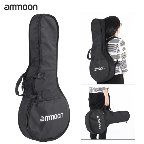 ammoon F Style Soft Mandolin Gig Bag Shoulder Backpack Durable Washable with 7mm Padding Double Straps