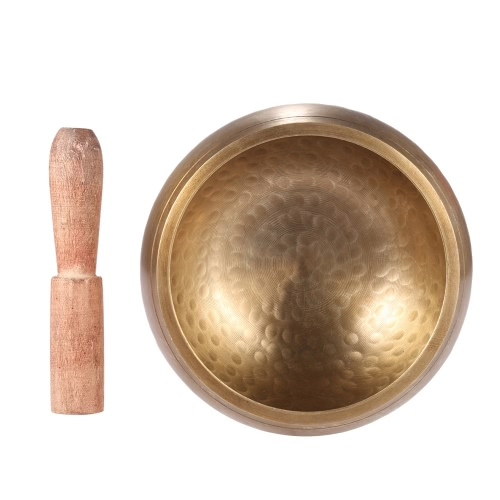 Exquisite 4.7 Inch Handmade Tibetan Bell Metal Singing Bowl with Striker for Buddhism Buddhist Meditation Healing Relaxation Yoga