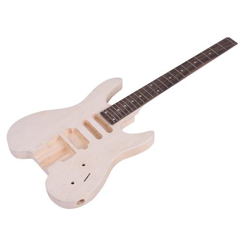 Niedokończona DIY Zestaw do Gitary Elektrycznej Drewno Głębokie Ciało Rosewood Podstrunnica na szyję Fingerboard Specjalny Kształt bez Headstock