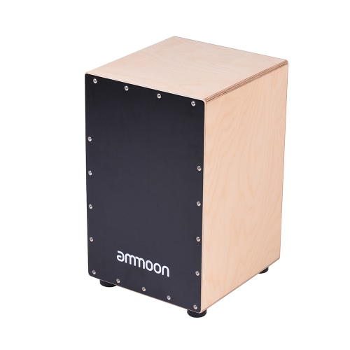 ammoon Wooden Cajon Box Drum Hand Drum Persussion Instrument Birch Wood with Adjustable Strings Carrying Bag for Adults