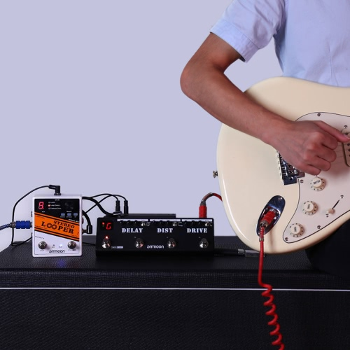 STEREO LOOPER Loop Record Guitar Effect Pedal 10 Independent Loops  Max. 10min Recording Time for Each Loop Unlimited Overdubbing