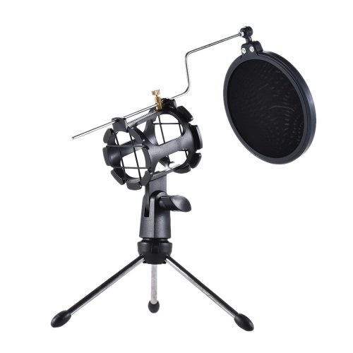 Detachable Desktop Microphone Tripod Stand Holder Bracket Supporter with Shock Mount Mic Holder & Double Dual-layer Pop Filter & Stick Professional for Broadcast Podcast Meeting Online Conference Chatting Lecture