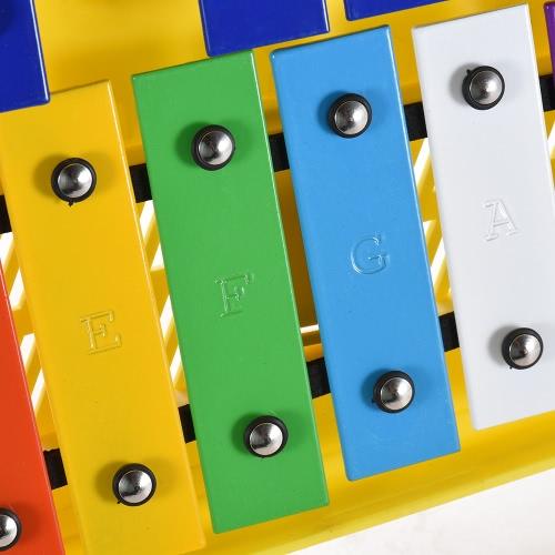 Красочный 25 Примечания Глокеншпиль Ксилофон Перкуссионный ритм Музыкальный учебный инструмент для учителей с двумя маллетами Карманный чехол для детей Детские дети