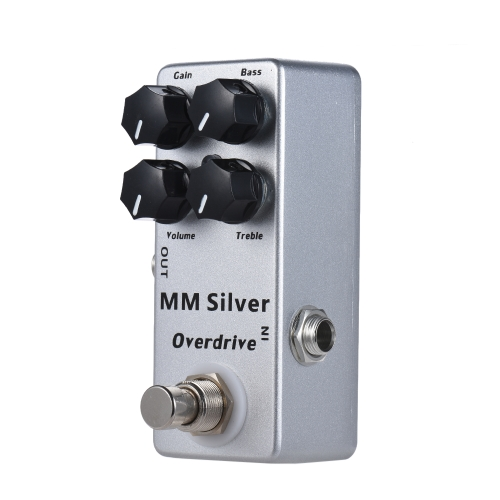 MOSKY MM Silver Electric Guitar Overdrive Effect Pedal Full Metal Shell True Bypass