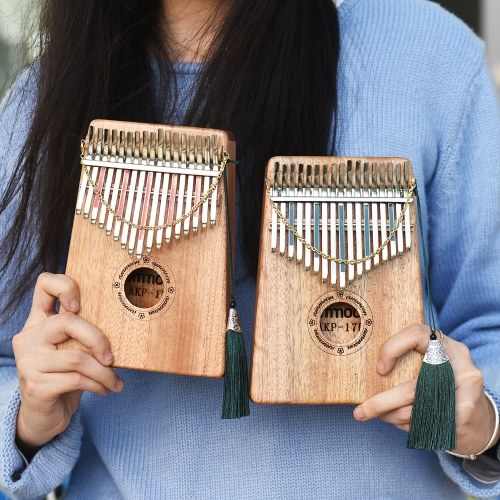 Thumb Piano Kalimba Mbira Sanza 17 Keys Swartizia Spp Solid Wood with Carry Bag Music Book Musical Scale Stickers Tuning Hammer Musical Gift AKP-17H