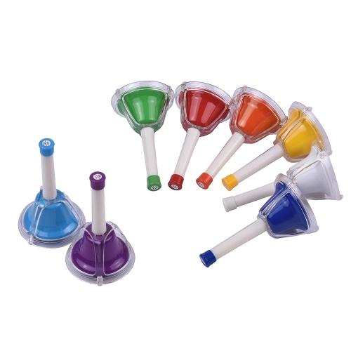 8 Nota Sino de Metal Diatonic Colorido Handbell Sinos de Percussão Kit Musical Toy for Kids Crianças para Aprendizagem de Aprendizagem Musical