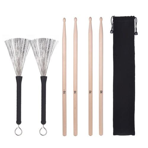 2 Paar 5A Drumsticks Classic Ahornholz Drumsticks Sets + 1 Paar Drum Wire Brushs Einziehbare Brush mit Aufbewahrungstasche für Jazz Folk Music