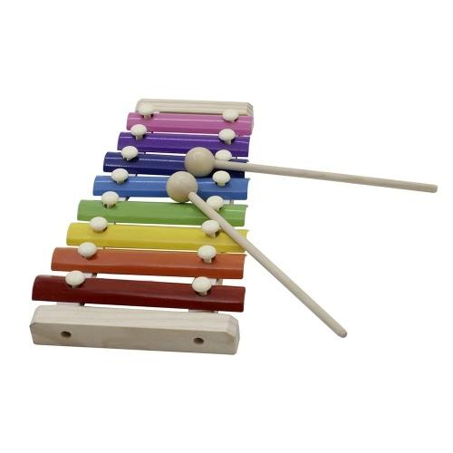 8-примечание Красочный ксилофон-колокольчик с деревянными молоточками Перкуссия Музыкальный инструмент Игрушка подарок для детей фото