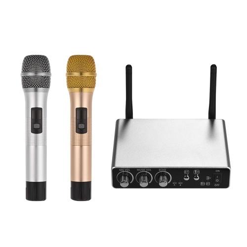 Système de microphone à main sans fil avec 2 microphones sans fil et un boîtier récepteur Équipement professionnel professionnel en direct Kit de micro à main pour microphones sans fil à bande UHF en option pour performances de conférence karaoké
