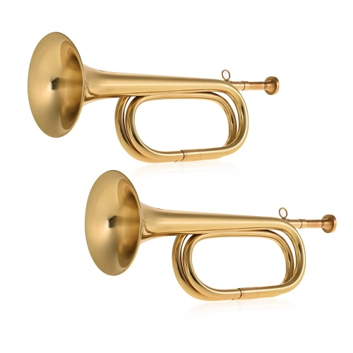 Muslady Brass Bugle B Flat Cavalry Horn Trumpet with Mouthpiece Gold, 2pcs/ Pack