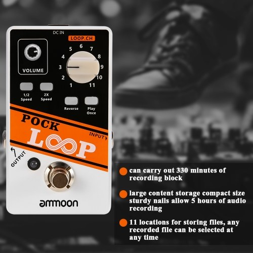ammoon POCK LOOP Looper Guitar Effect Pedal 11 Loopers Max.330mins Recording Time Supports 1/2 & 2X Speed Playback Reverse Functions True Bypass