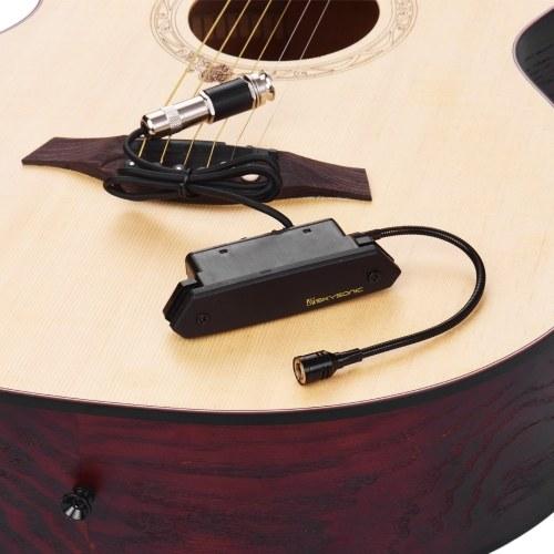 SKYSONIC T-902 Акустическая гитара Активный звукосниматель Магнитная система + микрофон Двойная система звукоснимателей с регуляторами громкости для классических народных гитар фото