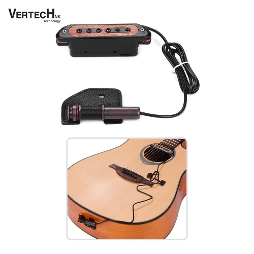 VERTECHnk VS-9 Passive Guitar Soundhole Pickup Humbucker Pick-up Transducer with 6.35mm Endpin Jack Volume Control for Acoustic Folk Guitar
