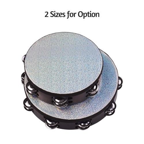 8-дюймовый деревянный лучистый бубен ручной колокольчик с двойными рядами джинглы сияющий светоотражающая головка барабана