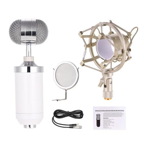 Micrófono de grabación Kit de micrófono de condensador unidireccional con abrazadera metálica a prueba de golpes Parabrisas Micrófono de alto ruido de alta sensibilidad