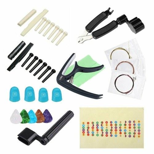 Kit de accesorios para guitarra Cuerdas para guitarra Púas Capo Plectrum Herramientas prácticas para afinar la guitarra