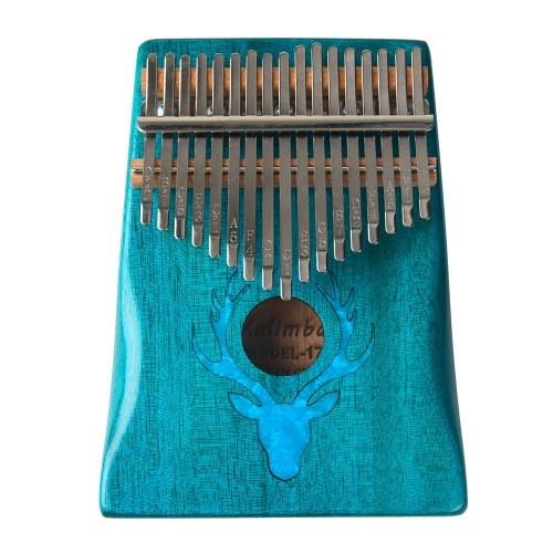17 Tasten Kalimba Elk Thumb Piano mit Hammer Tragbares Musikinstrument Dreamy Elk Blue Color