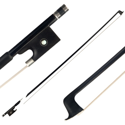 4/4 Violin Bow Graphite Black Carbon Round Ebony Frog