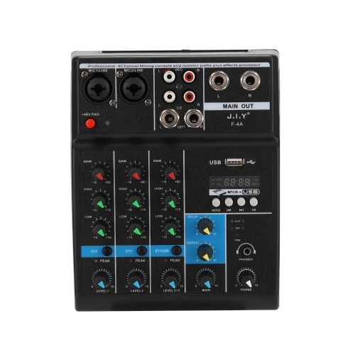 BT Professional 4 Channel Sound Mixing Console and Monitor Paths Plus Effects Processor with USB