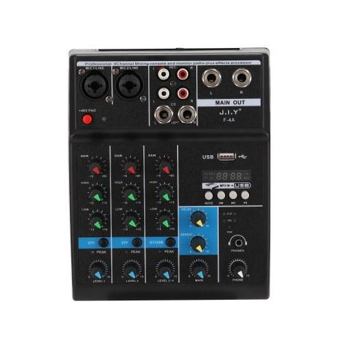 BT Professional - Consola mezcladora de sonido de 4 canales y monitor de rutas, además de procesador de efectos con USB