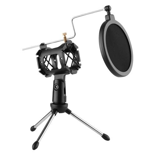 Kit microfono video con mini microfono Treppiede Supporto antiurto Filtro pop Cavo adattatore parabrezza Spina 3,5 mm