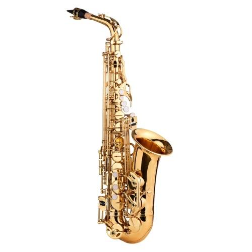 Muslady AS-482 E flat Alto Saxophone Eb Key Brass Gold Lacquer