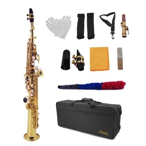 Muslady Straight Bb Сопрано Саксофон Латунный лакированный золотой духовой инструмент