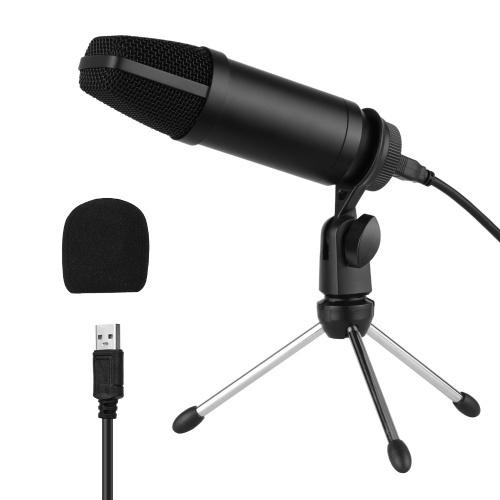 Conjunto de micrófono de condensador USB con trípode de micrófono plegable Cable de alimentación USB Manguito de espuma para viento
