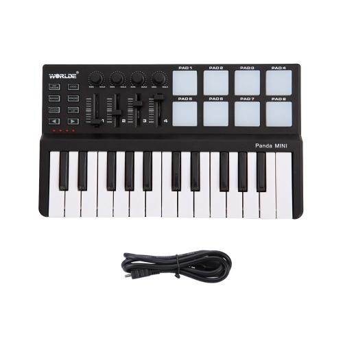 Контроллер MIDI-клавиатуры Worlde Panda с 25 клавишами и MIDI-контроллер Drum Pad