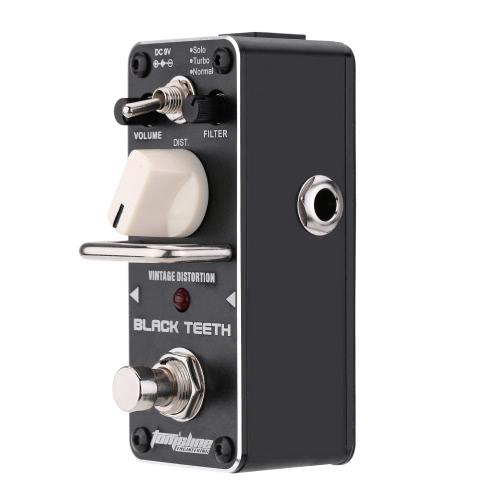 AROMA ABT-3 dientes negro Vintage distorsión guitarra eléctrica pedales Mini solo efecto con True Bypass