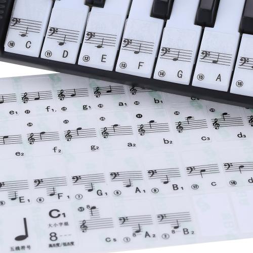 Transparent 49 61 Tasten Elektronische Tastatur 88 Tasten Klavier Notizenaufkleber für weiße Tasten