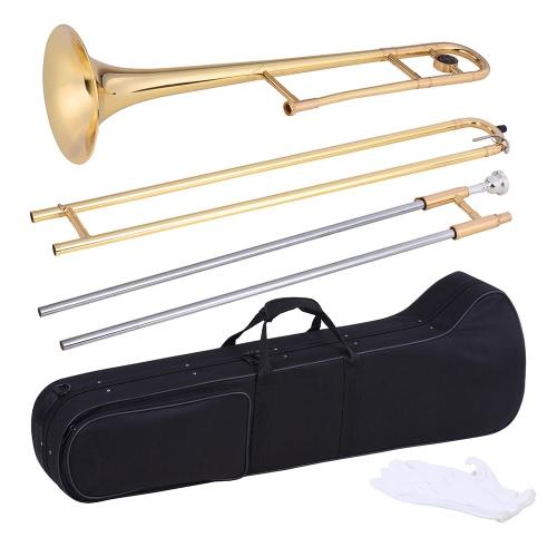 Ammoon Alto Puzon Mosiądz Złoty Lakier Bb Tone B płaski Instrument Dęty z Cupronickel Ustnik do Czyszczenia Memory Stick