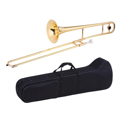 Tenor Trombone Brass Gold Lacquer Bb Tone B flat Wind Instrument with Cupronickel Mouthpiece Cleaning Stick Case