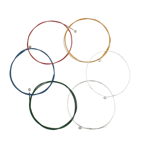 Colorful Stainless Steel Coated Copper Alloy Wound 1st-6th (.012-.053) 6pcs Acoustic Guitar Strings String Set