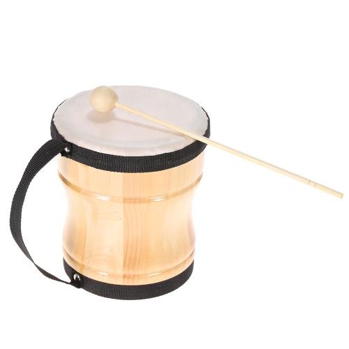 キッズ子供木製手ボンゴ ドラム音楽グッズ打楽器棒ストラップ