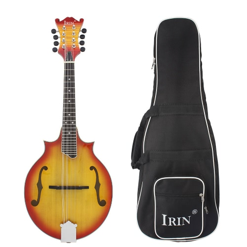8-String W-Style Cutaway Mandolin Spruce Top Basswood Side & Backboard 23 Fret Rosewood Fretboard Sunburst Red Solid Wood Musical Instrument with Bag