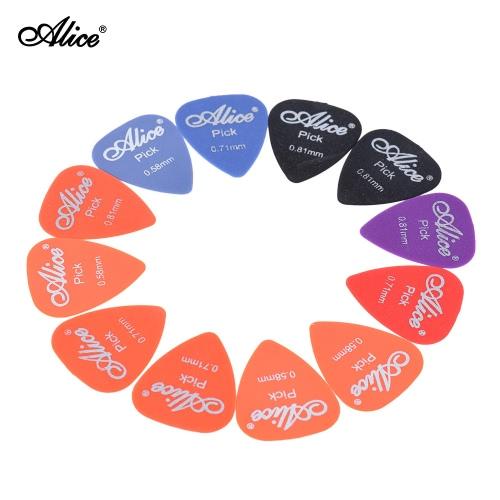 Alice AP-12F 12pcs/lot Frosted Matte Nylon Guitar Picks Plectrum of 3 Gauges 0.58mm/0.71mm/0.81mm (Random Color)